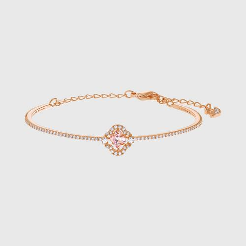 SWAROVSKI Sparkling Dance Clover Bangle, Pink, Rose-gold tone plated - Size M