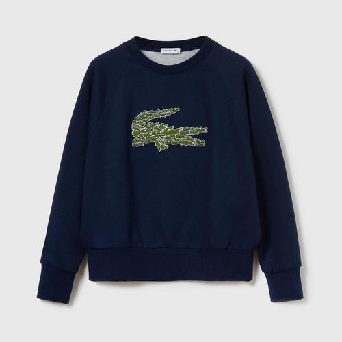 LACOSTE Women's Crew Neck Multi Croc Badge Fleece Sweatshirt (Navy Blue) - Size 36