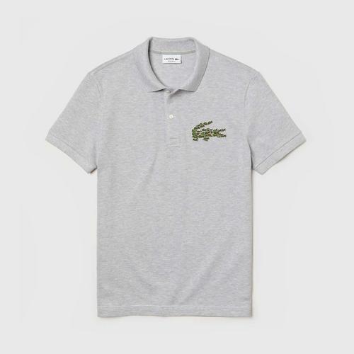 LACOSTE Men's Regular Fit Multi Croc Badge Cotton Piqué Polo Shirt (Grey Chine) - Size 2 (XS)