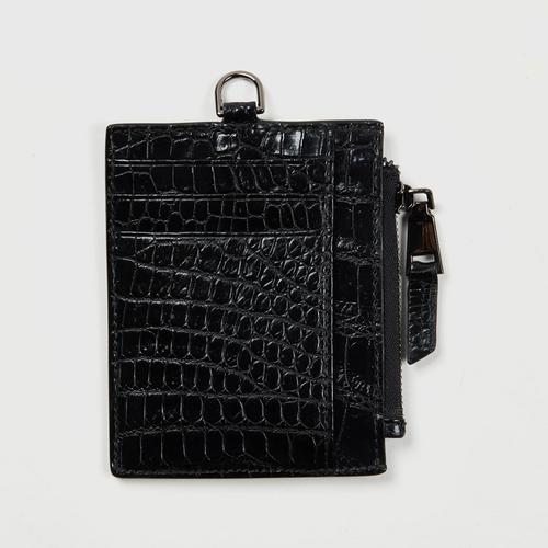 Longlai Crocodile Card Case Black Colour
