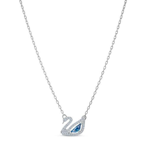 SWAROVSKI Dancing Swan Necklace, Blue, Rhodium Plated