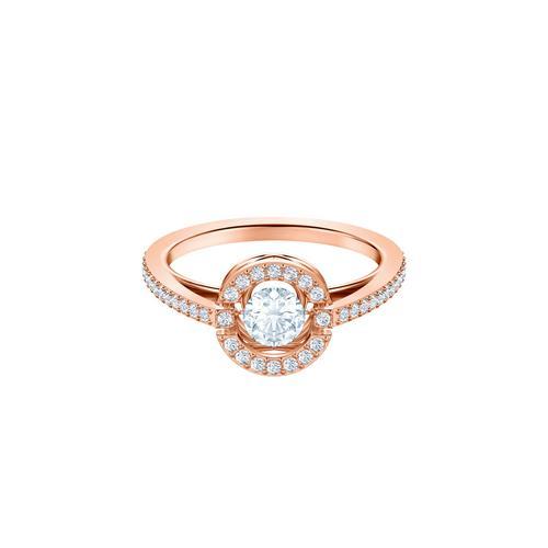 SWAROVSKI Sparkling Dance Round Ring, White, Rose-gold tone plated-Size 52