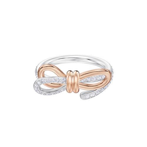 SWAROVSKI Lifelong Bow Ring, Medium, White, Mixed metal finish - Size 50