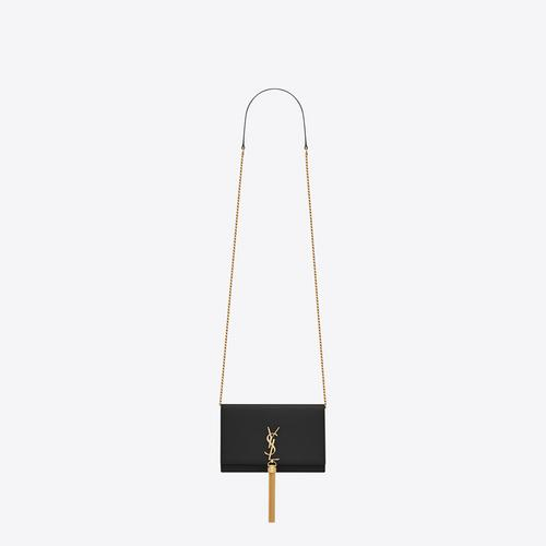 SAINT LAURENT KATE TASSEL CHAIN WALLET IN SMOOTH LEATHER - NERO