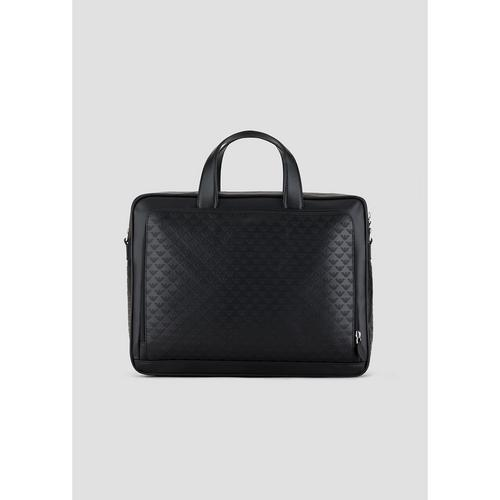 EMPORIO ARMANI Leather briefcase with all-over eagle print