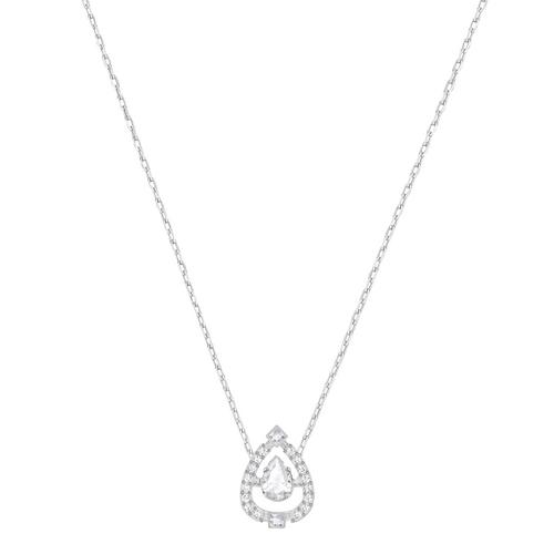 SWAROVSKI Sparkling Dance Pear Necklace, White, Rhodium plating