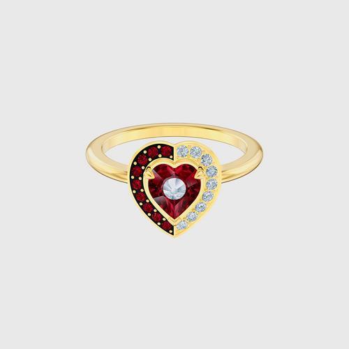 SWAROVSKI Black Baroque Motif Ring, Red, Gold-tone plated - Size 55