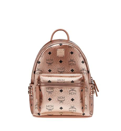 MCM Stark Side Studs Backpack in Visetos - Champagne Gold (Mini)