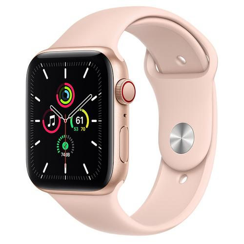 Apple Watch SE (GPS + Cellular) Gold Aluminum Case with Pink Sand Sport Band (44mm)