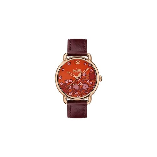 COACH 36 mm. Delancey Rose Gold Tone Floral Print Dial Leather Strap Watch