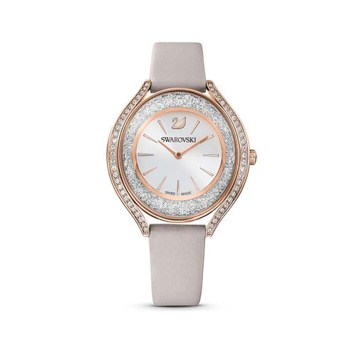 SWAROVSKI Crystalline Aura Watch, Leather strap, Gray, Rose-gold tone PVD