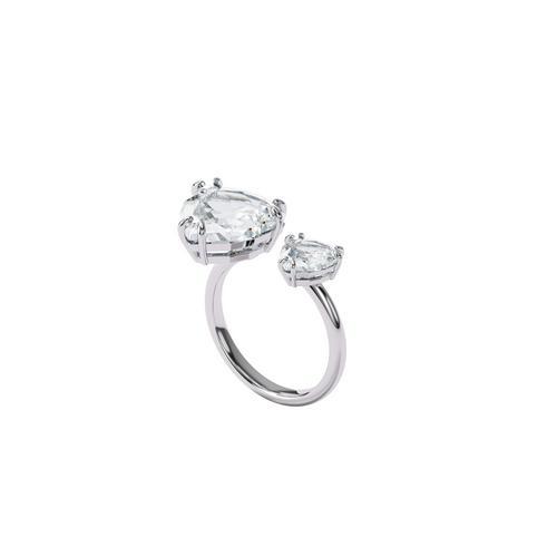SWAROVSKI Millenia open ring Trilliant cut crystals, White, Rhodium plated-Size 55