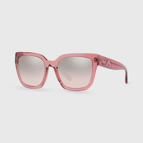 COACH Trans Pink Silver Pink Gradient Flash Female Sunglasses