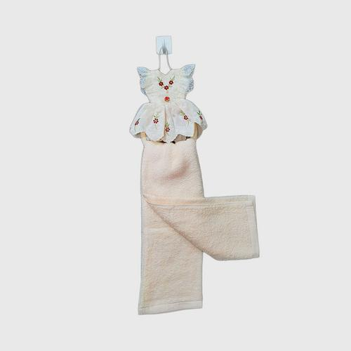 COTTON FANTASY : Dress Hand Towel with hanging loop Cream - Peach