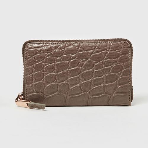 Longlai Crocodile Small Long Zipped Wallet Taupe Colour