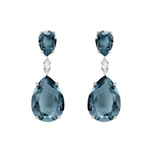 SWAROVSKI Vintage Drop Pierced Earrings, Teal, Rhodium plating