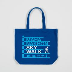 Mahanakhon SkyWalk Logo and Icons Tote Bag Blue