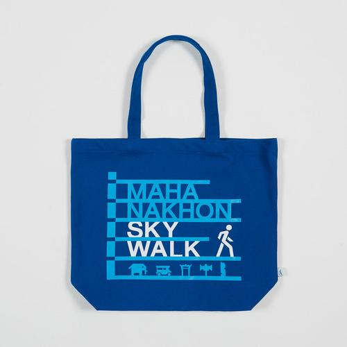 Mahanakhon SkyWalk Logo and Icons Tote Bag Blue