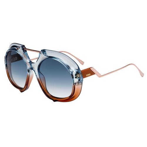 芬迪 FENDI FF 0316/S Blue Brown Optyl Metal 太阳眼镜 55mm