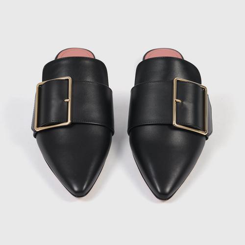 BALLY Women's Hamelin Buckled Leather Mules Black-36