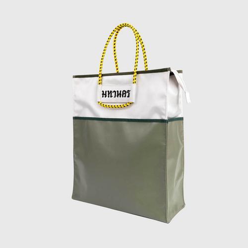 MAHANAKHON Color Block Tote Bag - Olive