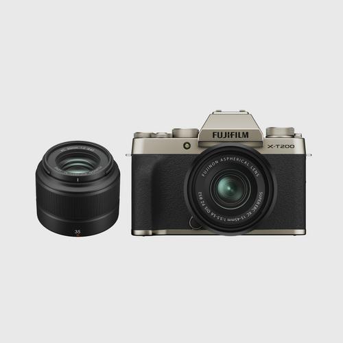 FujifilmX-T200 Kit 15-45 mm + Lens XC35. Gold