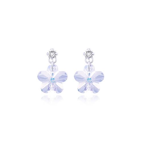 12VICTORY CrystalAB Flower Earrings