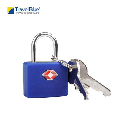 Travel Blue TB027B TSA Approved Suitcase Padlock - Key - Bright Blue