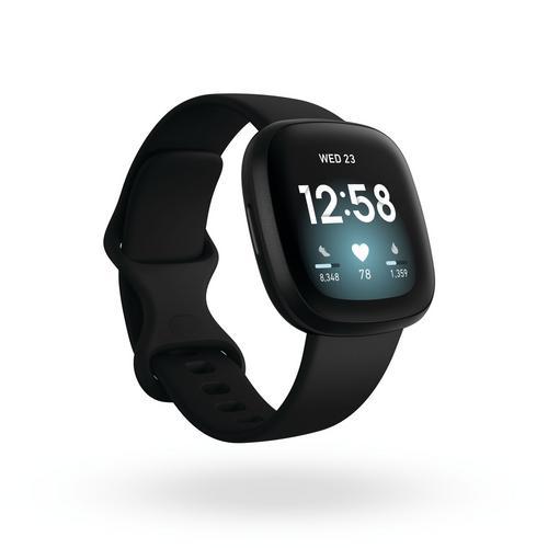 Fitbit Versa3 Watch + GPS - Black/Black Aluminum