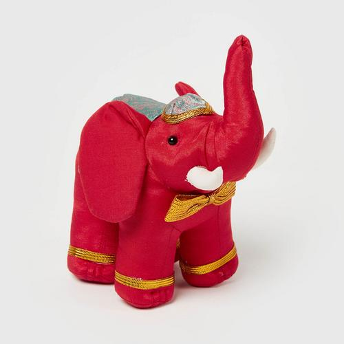 "SUNSANEE Standing Silk Elephant Doll 2""- RED"