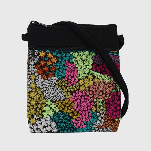 NITHEE - 2-zip flap bag decorated with hand embroidery, flower pattern