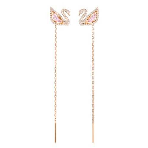 SWAROVSKI Dazzling Swan Pierced Earrings, Multi-Colored, Rose-Gold Tone Plated