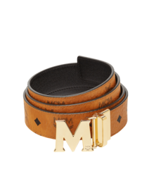"MCM Claus M Reversible Belt 1.5"" in Visetos - Cognac with Gold Buckle"