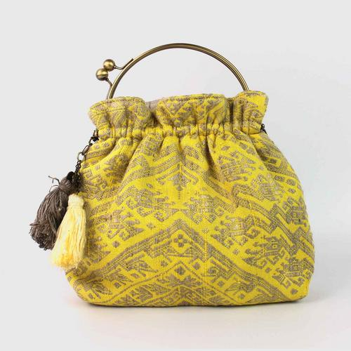"TUH PREAWA  :  handle L bag  with chain shoulder      10.5"" X 8""  x 2.5"" yellow"