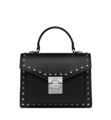 MCM PATRICIA STUDDED OUTLINE PARK AVENUE SATCHEL - Black (Small)