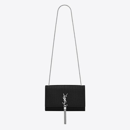 SAINT LAURENT MEDIUM KATE TASSEL CHAIN BAG IN BLACK CROCODILE EMBOSSEDLEATHER - NERO