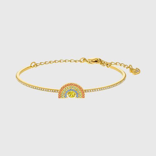 SWAROVSKI Sparkling Dance Rainbow Bangle, Light multi-colored, Gold-tone plated - Size M