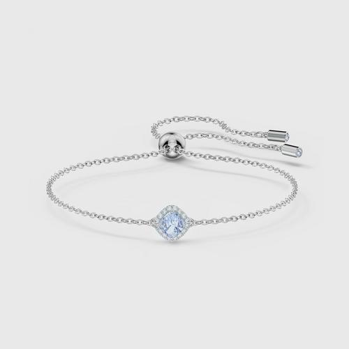 SWAROVSKI Angelic Cushion Bracelet, Blue, Rhodium Plated Size M
