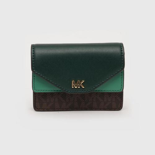 MICHAEL KORS Money Pieces Two - Tone Leather and Logo Card Holder - RCGN/BR