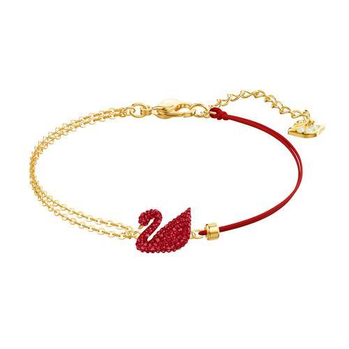 SWAROVSKI Iconic Swan Bracelet, Red, Gold-tone plated