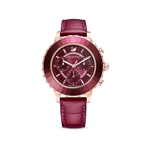 SWAROVSKI Octea Lux Chrono Watch, Leather strap, Red, Rose-gold tone PVD