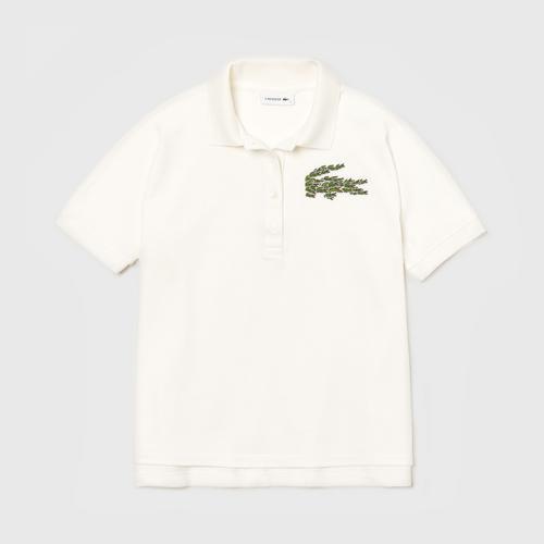 LACOSTE Women's Relaxed Fit Croco Magic Logo Piqué Polo (White) - Size L