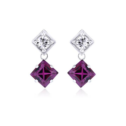 12VICTORY Square Fuchsia Earrings