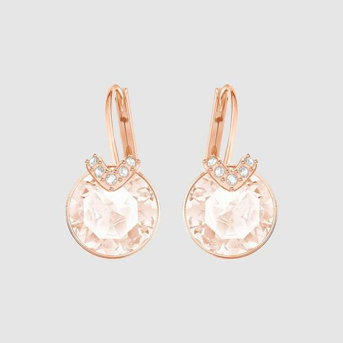 SWAROVSKI Bella V Pierced Earrings, Pink, Rose gold plating