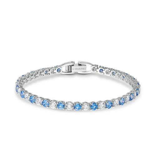 SWAROVSKI Tennis Deluxe Bracelet, Blue, Rhodium plated