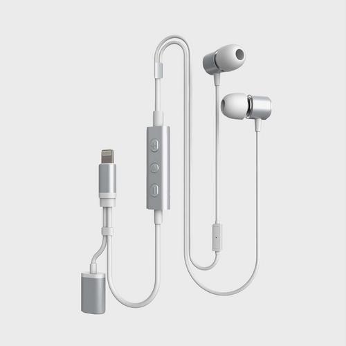 Cheero Earphones with Charging Dock (Lightning) - Silver