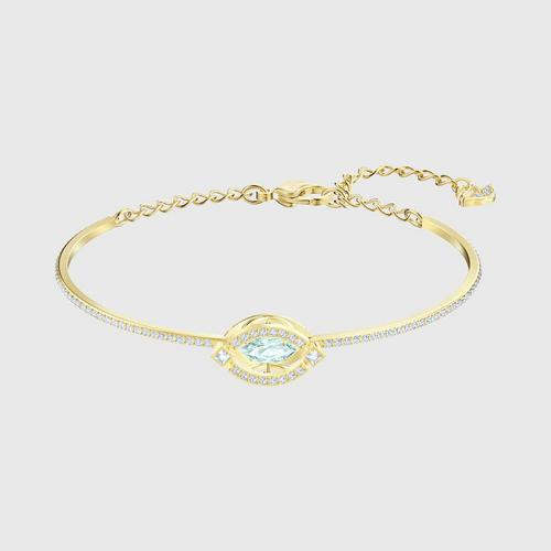 SWAROVSKI Sparkling Dance Bangle, Green, Gold-tone plated - Size M