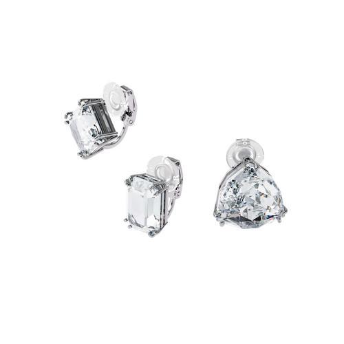 SWAROVSKI Millenia clip earring Single, Set (3), White, Rhodium plated