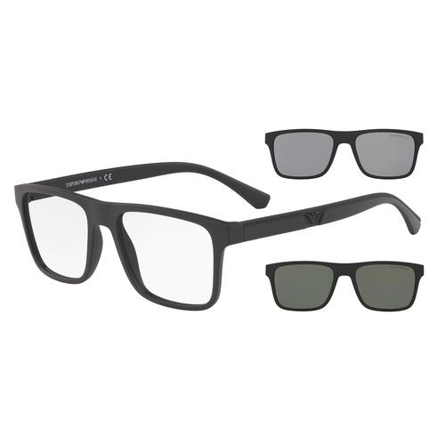 EMPORIO ARMANI Rectangular Optical with Clip-on Sun frame 0EA411558011W54
