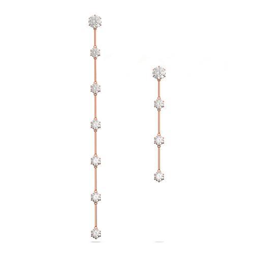 SWAROVSKI Constella earrings Asymmetrical, White, Rose gold-tone plated
